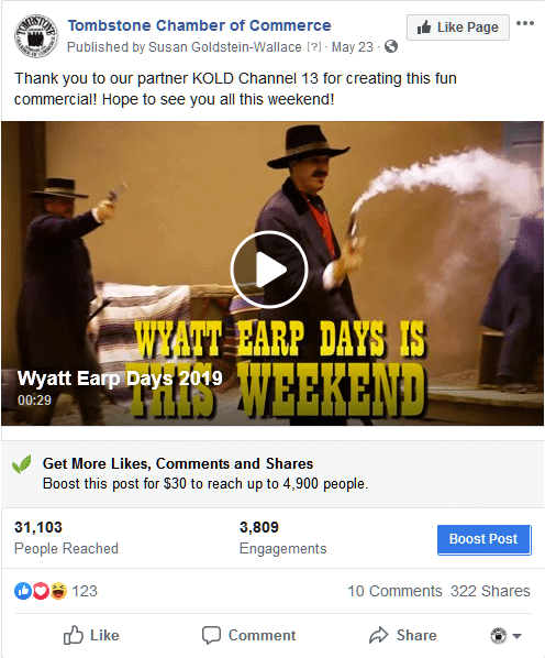 WYATT EARP DAYS 2019<BR>Engagement: 31,103 people